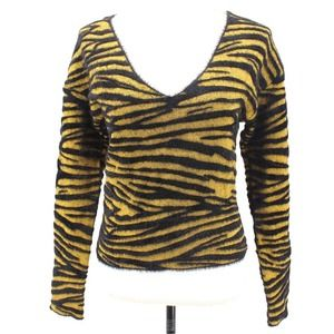 Leith Tiger Stripe Fuzzy Textured Pullover V Neck Sweater Black Yellow Size XS